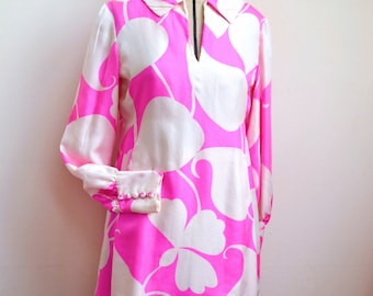 1960s Designer pure silk hot pink & ivory psychedelic print shift dress / 60s printed neon bishop sleeve mini dress, Malcolm Starr label - S