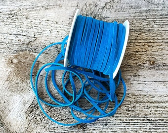 "Suede Leather Lace 5 Feet x 3mm Turquoise BY THE FOOT - 1/8"" Lace for Ties - Cord - Bead - Blue Suede Leather Lace - Leather Craft Supplies"