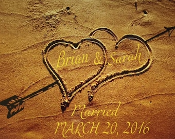 """Sublimated Wedding/Anniversary Heart in Sand on 6""""x6"""",8""""x8"""",Mural Ceramic Tile/2 options,Wedding,Anniversary,Housewarming, Valentine's, Love"""
