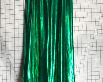 Vintage Disco Glam Green Shiny Vinyl Hip Hugger Super Flare Wide Leg Pants