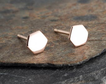 14K Rose Solid Gold Hexagon Studs, Solid Rose Gold Earrings, Gold Stud, Hexagon Studs, Rose Gold Studs, Tiny Pebble Tiny Earrings