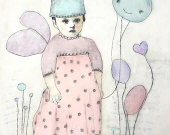 Girls Nursery Art -  Little Girl with Wings - Gifts for Her - Illustrated Art for Children - Home Decor Art
