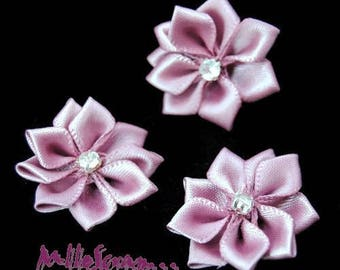 Set of 5 flowers fabric purple embellishment rhinestone scrapbooking card *.