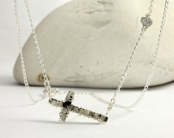 White Raw Diamond Necklace - Sideways Cross - Wire Wrapped Rough Diamonds on Silver - Celebrity Style Cross Necklace