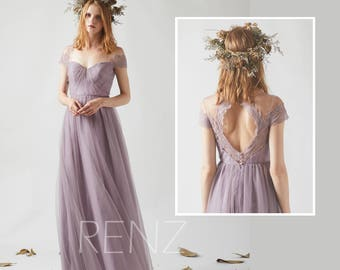 Bridesmaid Dress Dark Mauve Tulle Dress,Wedding Dress,Illusion Cap Sleeve Party Dress,Sweetheart Maxi Dress,Open Back A Line Dress(LS337)