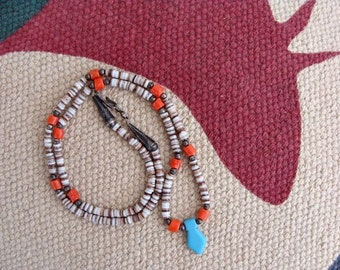 Vintage Southwest America Style Heishi & Coral With Turquoise Necklace