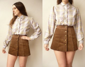 Vintage Wrangler Pastel Checked Tartan Printed 80's Shirt With A Peter Pan Collar