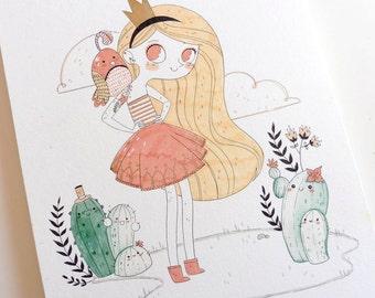 Cactus Girl - Illustration - Original Work