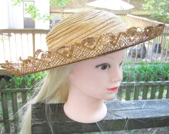 Gardener's Straw Hat By Austelle, Straw Lace Trim, Large Brim, Gardening Accessory, Sun Hat