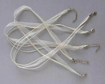 Set of 3 creamy white organza Ribbon cord necklaces