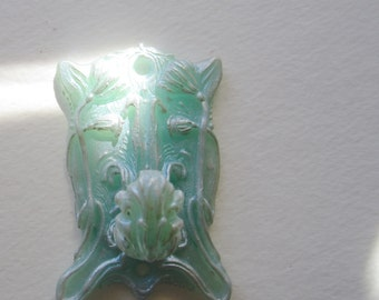 Small Art Nouveau Wall Hook, Jadeite and pearl. Resin hook in pale green. Mounting hardware included.