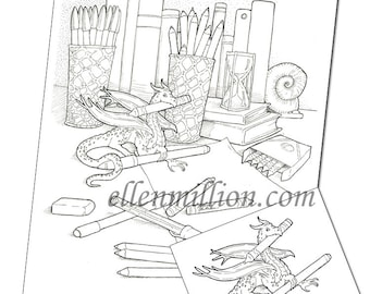 Dragon's Hoard Funny Digi Stamp Digital Coloring Page for adults - for scrapbooking or cards or coloring