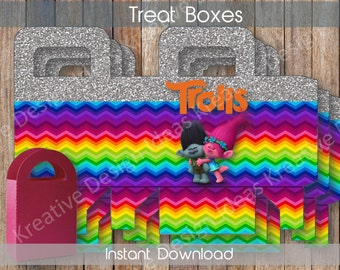 Trolls Treat Boxes Trolls Party Printables Theme Birthday Party Trolls Digital Treat Box Trolls Printable Treat Box- INSTANT DOWNLOAD