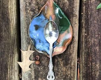Handmade Pottery Leaf Spoon Rest in Earth-Tone Multi Glaze