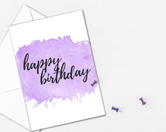 Happy Birthday Card Printable in Purple Watercolour