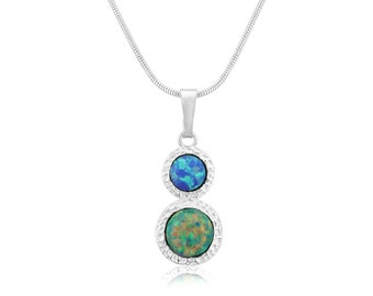Green and Blue Opal Hammered Pendant