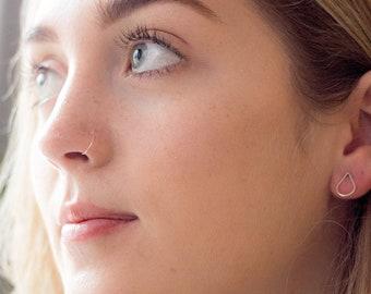 9ct WHITE GOLD FALSE, Very thin False Nose ring, Fake Nose ring Hypoallergenic, Tragus Piercing, Cartilage Ring, Septum Ring, Piercing, Hoop