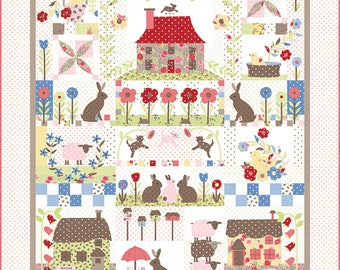 Cottontail Cottage Block of the Month BOM Quilt Pattern, BHD 2128, Bunny Hill Designs, Bunny Quilt Pattern, 9 Month
