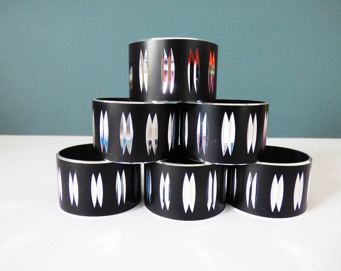 Napkin Rings 1960's Anodised cut Aluminium