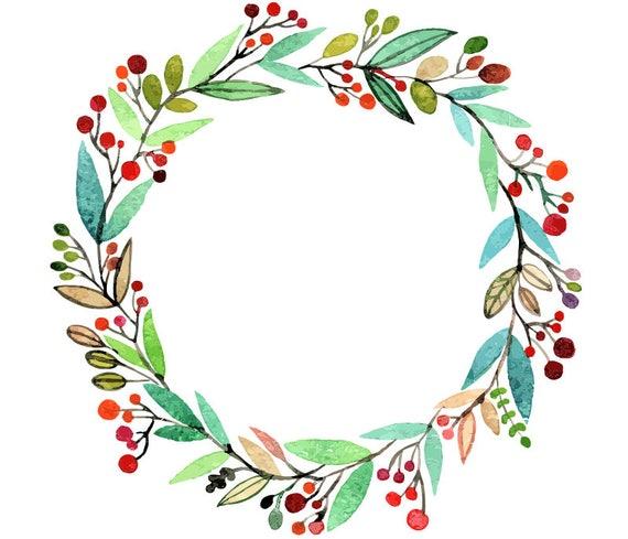 watercolour flower wreath clip art digital download png vector ai rh etsystudio com