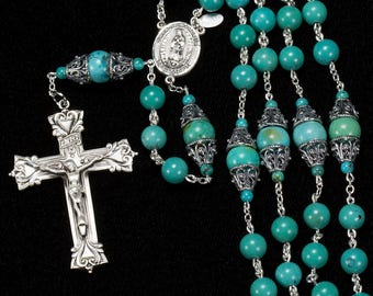 Turquoise Rosary for Catholic Women - Handmade Gift, Bali Sterling Silver, Our Lady of Guadelupe, Ornate Crucifix - Custom Heirloom Rosaries