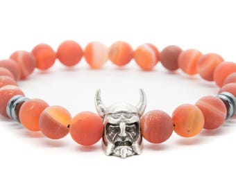 Orange Agate with Viking Helmet Beaded Mens Stretch Bracelet