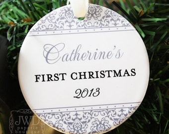 Personalized Baby First Christmas Ornament Personalized My First Christmas Ornament -  Jazzy Damask Pattern - Item# JAZ-B1-O