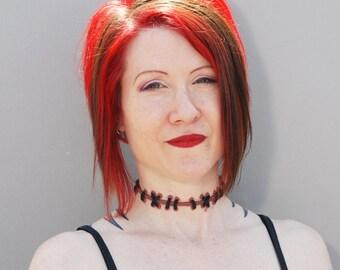 Sally Stitches -  Zombie Stitch Choker Necklace - Natural Flesh 2 with medium stitches