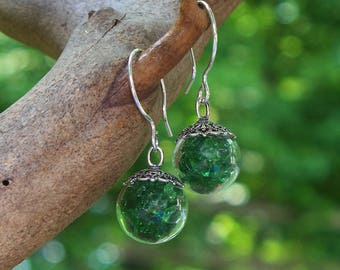 Recycled Reclaimed Vintage 1960s Emerald Green Beeer Bottle Glass and Sterling Silver Orb Earrings