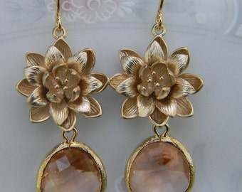 Champagne Crystal Earrings Gold Lotus Blossoms -Dangle Earrings- Bridesmaid Earrings - Bridal Earrings - Wedding Jewelry