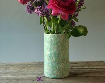 Medium Vase with Flannel Flower design in teal