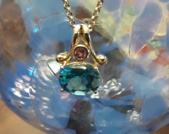 """Blue and pink topaz 14k gold pendant with 18"""" 14k gold Italy chain necklace"""