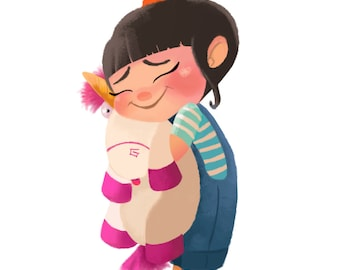 """Art Print, Agnes from Despicable Me, """"It's So Fluffy!"""" Print"""