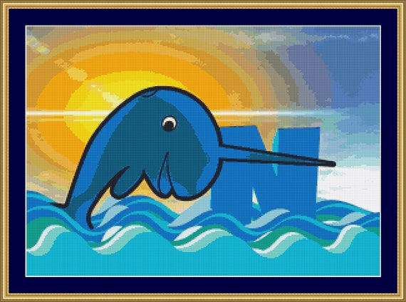 N Is For Narwhal Cross Stitch Pattern /Digital PDF Files /Instant downloadable