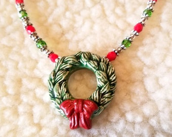 Christmas Wreath Necklace Red and Green Holiday Jewelry