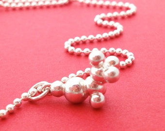 ethyl alcohol charm necklace - ethanol molecule in solid sterling silver