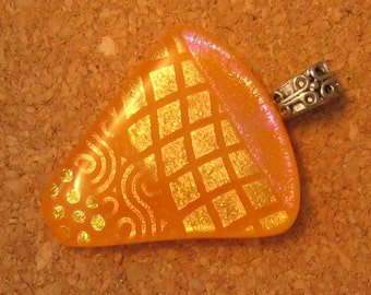 Fused Dichroic Orange Glass Pendant Dichroic Jewelry Fused Glass Jewelry Glass Pendant Glass Jewelry