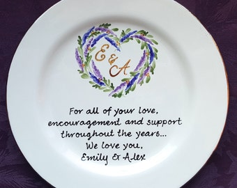 Mother of the bride gift Mother of the Groom Gift unique personalized Wedding Gift for parents hand painted keepsake plate Mom and Dad Heart