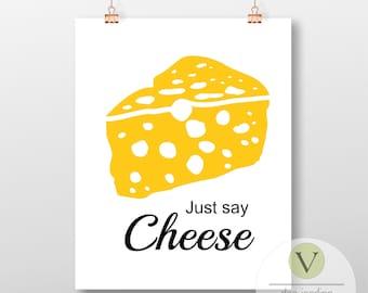 Cheese Print, Digital Download, Kitchen Art Print, Cheese Poster, Food Art DIY Printable Download