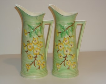Vintage Handpainted Dogwood Pitcher(s) ~ Made in England