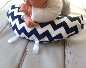 Organic Tummy Time Pillow, Chevrons in Navy