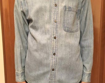 Vintage /  Denim/  Button Up Shirt / 80's / 90's / Minimal / Retro
