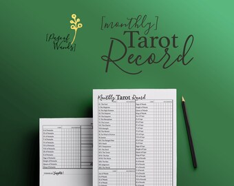 Printable Monthly Record of Tarot Cards -- Planner Page -- Tarot Spreads -- Bullet Journal Printable