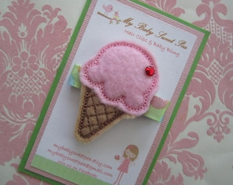 Girl hair clips - ice-cream cone hair clips - girl barrettes - no slip hair clips