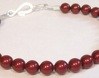 Marsala Cranberry Bridesmaid Bracelet, Pearl, Merlot, Apple, Tomato, Bordeaux, Cherry, Burgundy, Claret, Single Strand, Wine