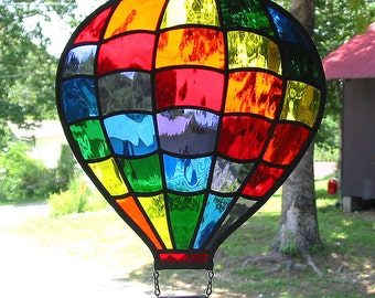 Rainbow Stained Glass Hot Air Balloon Suncatcher