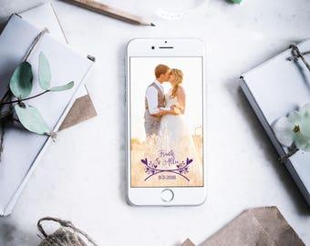 Custom Snapchat Geofilter - Heart Laurel Wedding Snapchat Geofilter