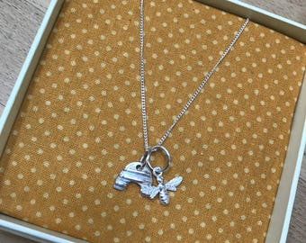 Sterling Silver Bee Hive & Bee Necklace
