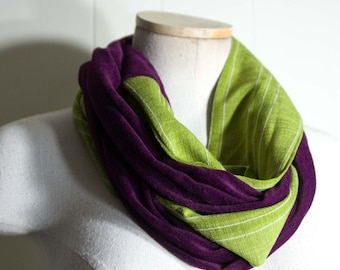 Green and Maroon Infinity Scarf  138 inches by 4 inches Loop Scarf Eternity Scarf * Gift for Her Only 14.00 OOAK Holiday Scarf