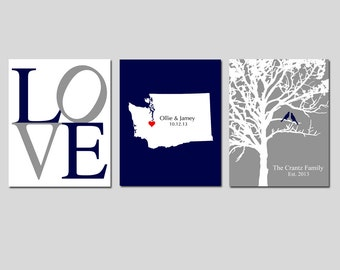 PERSONALIZED WEDDING GIFT Custom Wedding Present - Set of 3 Prints - Love, State Silhouette, Family Tree with Date Established and Birds